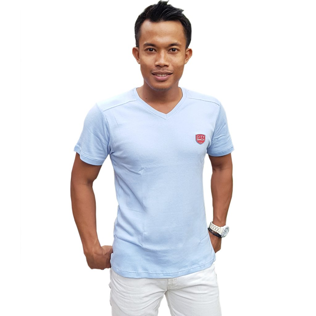 CITY B**CH t-shirt plain V neck light blue